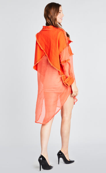 Orange Denim & Mesh Dress/Shirt