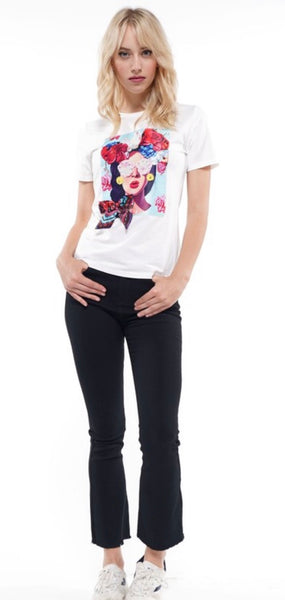 Girl w/Roses Patch Tee