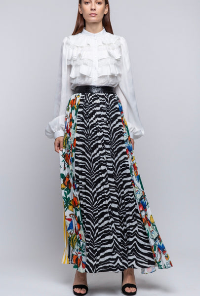 Pleated Multi-Print Skirt