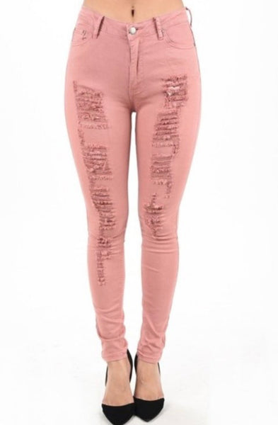 DUSTY PINK DENIM DISTRESSED PANTS (PLUS)