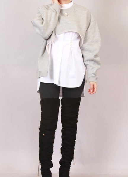 GRAY CROPPED SWEATSHIRT