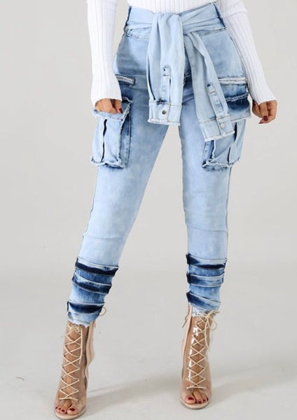 Denim Tie Waist Pants