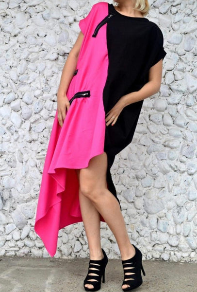 Pink & Black Asymmetric Dress