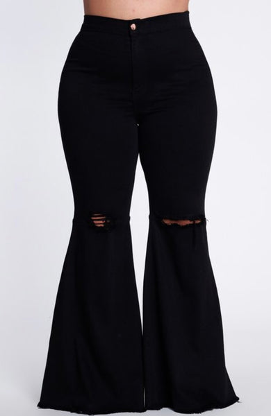 Black Denim Distressed Pants (PLUS)