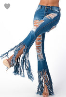 Distressed Fringe Denim