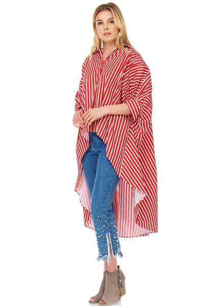 Red & White HI/LO Shirtdress