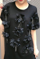 BLACK Earthly Appliqué Flowered Top/Dress