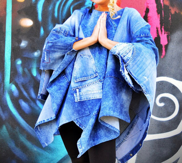 Denim Patched Poncho