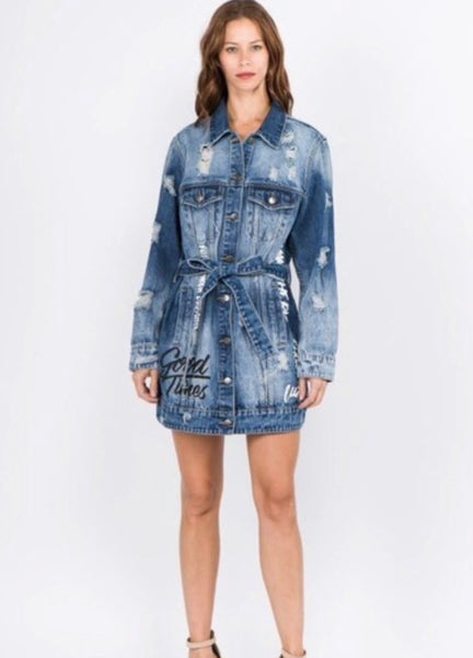 Denim Script Jacket (PLUS)