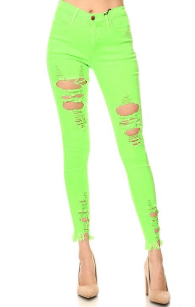 Neon Green Distressed Jeans
