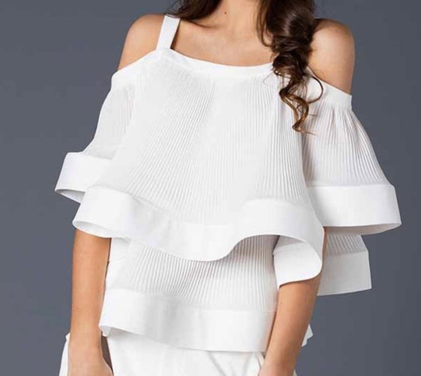 """Becky"" Cold Shoulder Pleated Top (PLUS)"