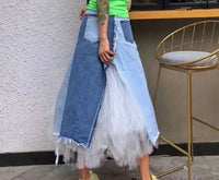 Denim and Tulle Midi Skirt