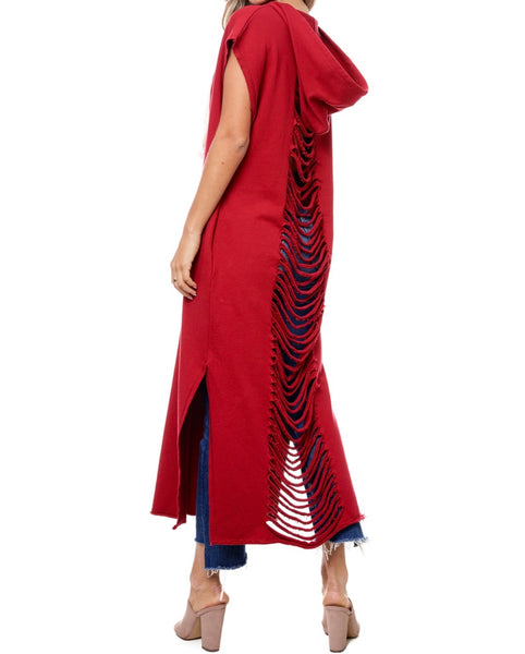 Red Back Slit Long Dress/Top