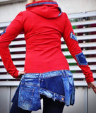 Red & Denim Sweatshirt Tunic