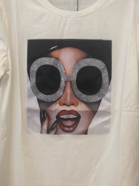 "White ""BLING GLASSES"" Graphic Tee"