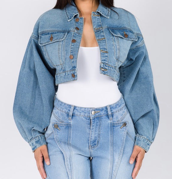 Denim Balloon Sleeve Jacket (PLUS)