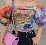 Multi-color Floral Tie Dye Top