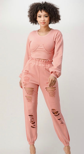 Peach Distressed Jogger Set