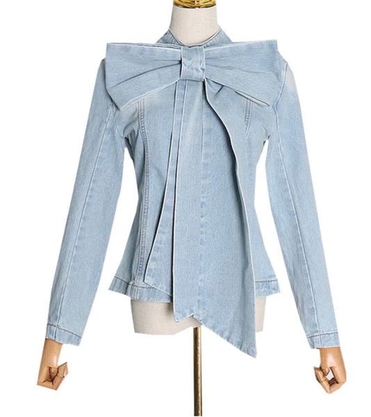 Denim Bow Top