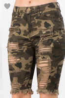 Camouflage Distressed Shorts