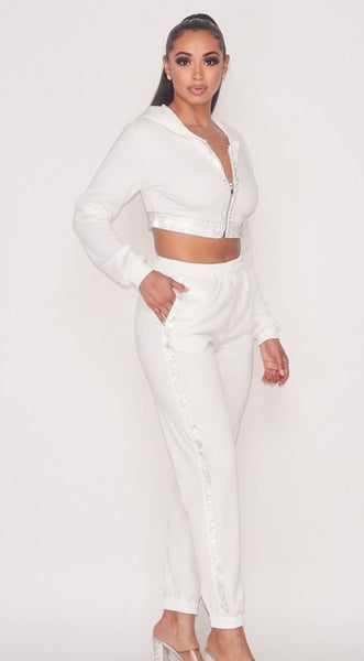 Winter White Rhinestone Jogger Set