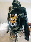 Camo Jacket with Sequin Tiger