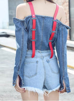 Red Straps Denim Top