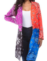 Color Block Printed Cardigan (RED)