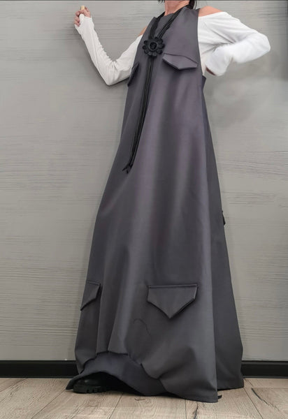 Gray Gothic Long Dress