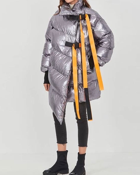 Glossy Puffer Parker Coat (SILVER)