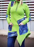Green & Denim Sweatshirt Tunic
