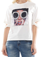 Pearl Glasses Graphic Top (BLACK)