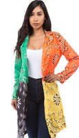 Color Block Printed Cardigan