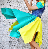 Denim Color Block Swing Dress
