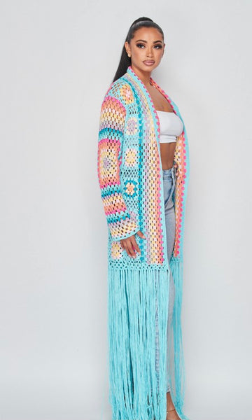 Pastel Color Hand Knit Cardigan (BLUE)