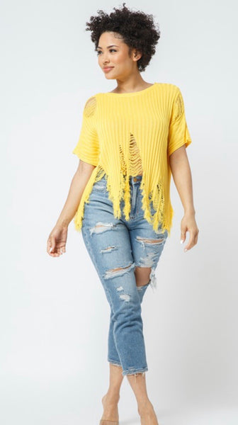 Yellow Distressed Sweater