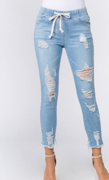 Denim Distressed Jeans (LIGHT BLUE)