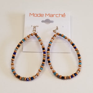 MODE MARCHE BEADED HOOP EARRINGS
