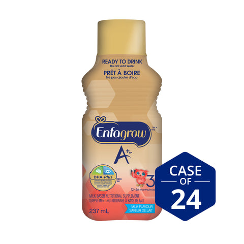 Enfagrow A+® Toddler Nutritional Drink, Milk Flavour Ready to Drink Bottles, 237mL