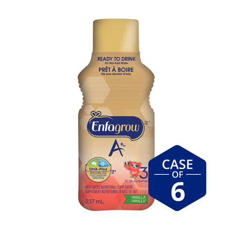 Enfagrow A+® Toddler Nutritional Drink, Vanilla Flavour Ready to Drink bottles, 237mL