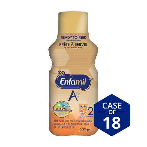 Enfamil A+® 2 Infant Formula, Ready to Feed Bottles, 237mL (18 pack)