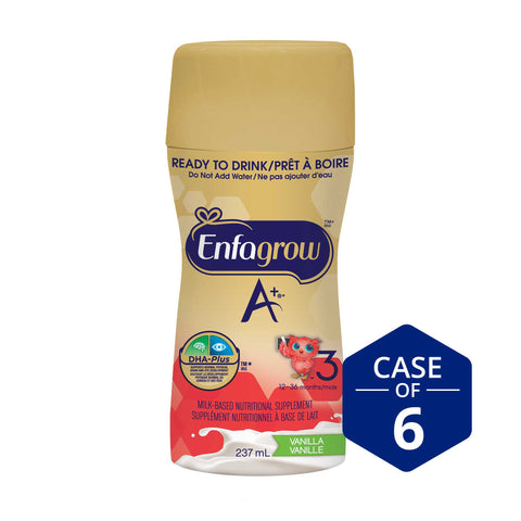 New look! Enfagrow A+® Toddler Nutritional Drink, Vanilla Flavour Ready to Drink bottles, 237mL