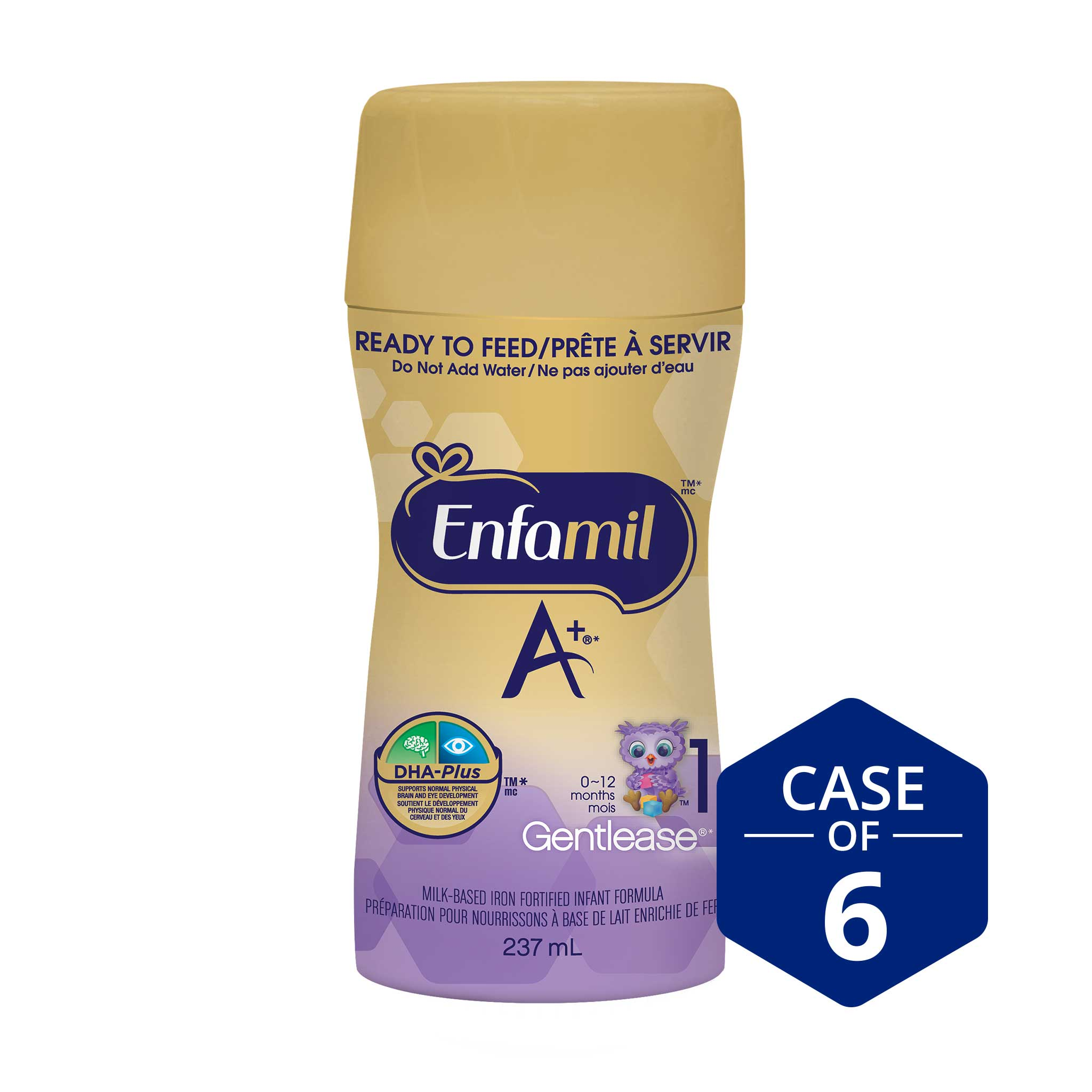 Enfamil A+ Gentlease® Infant Formula, New Nipple-Ready to Feed Bottles, 237mL