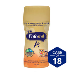 Enfamil A+® 2 Infant Formula, New Nipple-Ready to Feed Bottles, 237mL (18 pack)