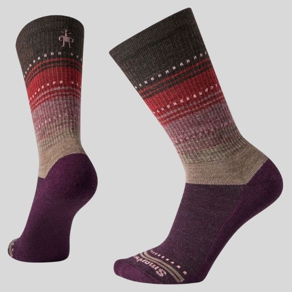 A pair of patterned socks is shown.