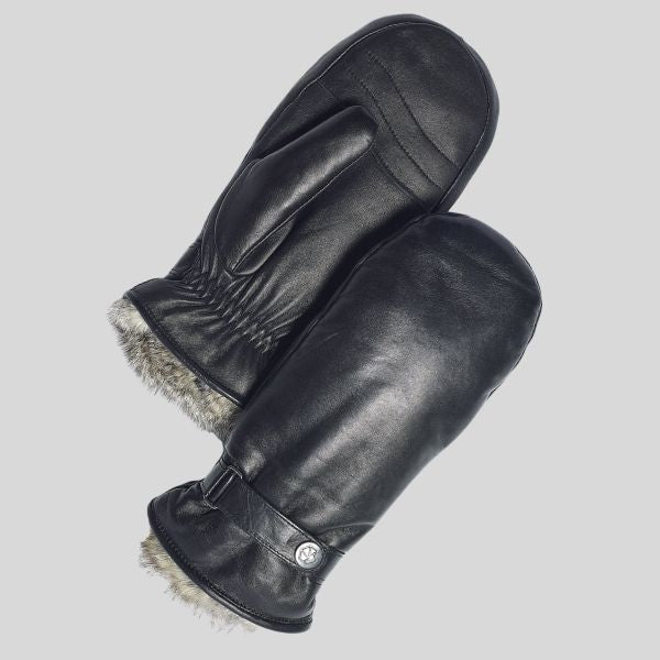 A pair of leather gloves with a bit of fur trim around the wrists is shown.