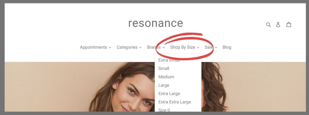 """Resonance's front page menu is shown, with a red circle around a drop down menu labelled """"Shop By Size"""""""