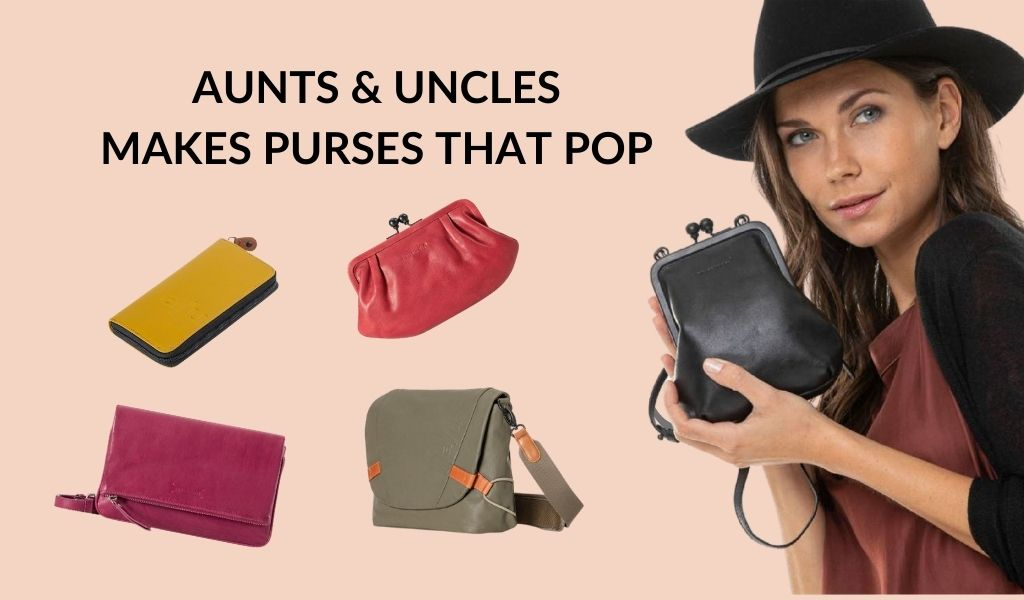 Aunts & Uncles makes purses that pop. A woman holds a small handbag in black leather. Four other small handbags in bright colours are shown.