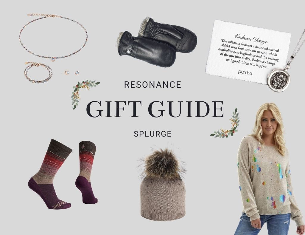 An image has the headline: Resonance Gift Guide - Splurge. Gifts are shown, including mitts, jewellery, socks, a sweater and a pompom toque.