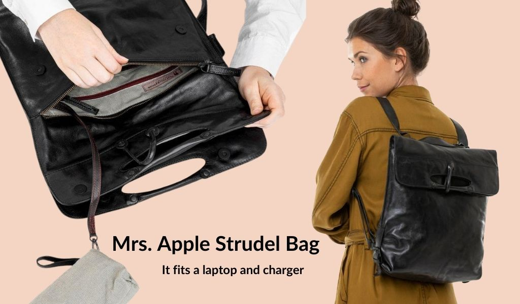 A woman is shown wearing a leather black backpack. Text: Mrs. Apple Strudel Bag. It fits a laptop and charger.